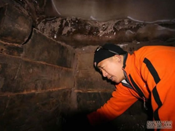 Caption: A NAMI team member is shown examining one of the rooms reportedly found on Ararat. Image from the NAMI website.
