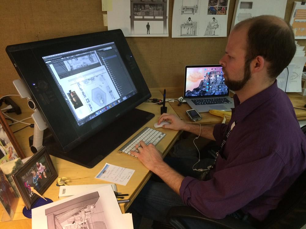 Allen Greene Sketching Noah's Study