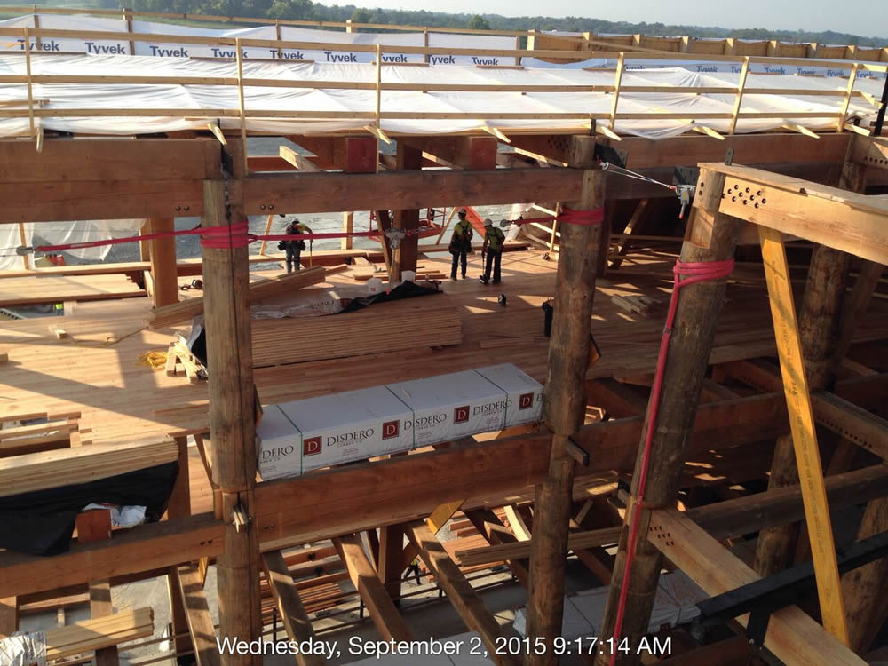 Installing the wooden floor on one of the decks