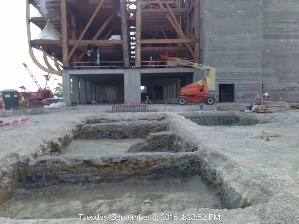 The area where more concrete footers are being poured