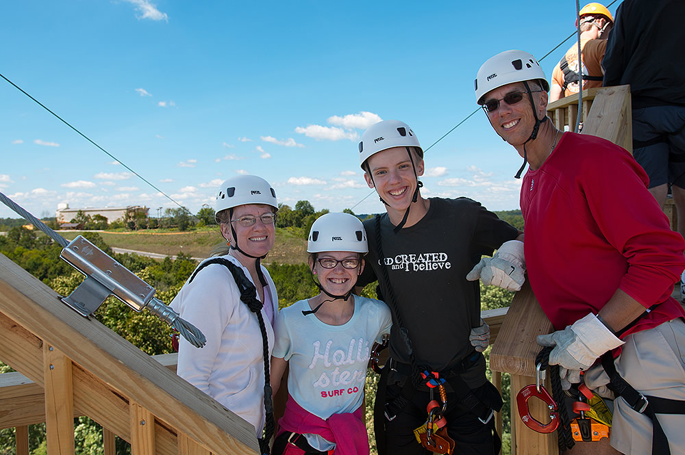 Family on Zip Line Course
