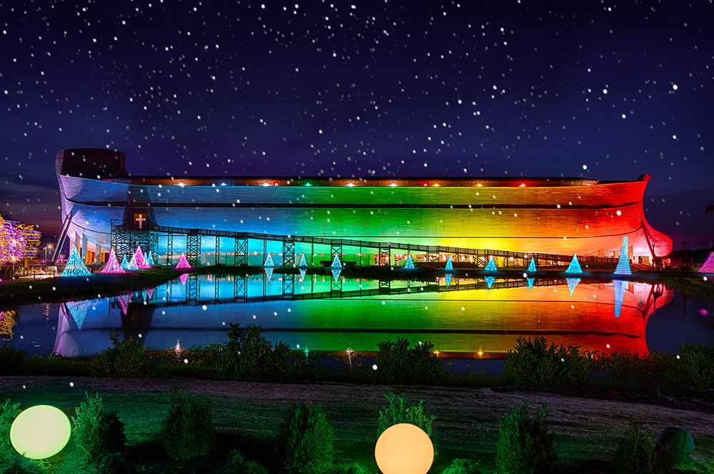 Ark Encounter with Rainbow Lights