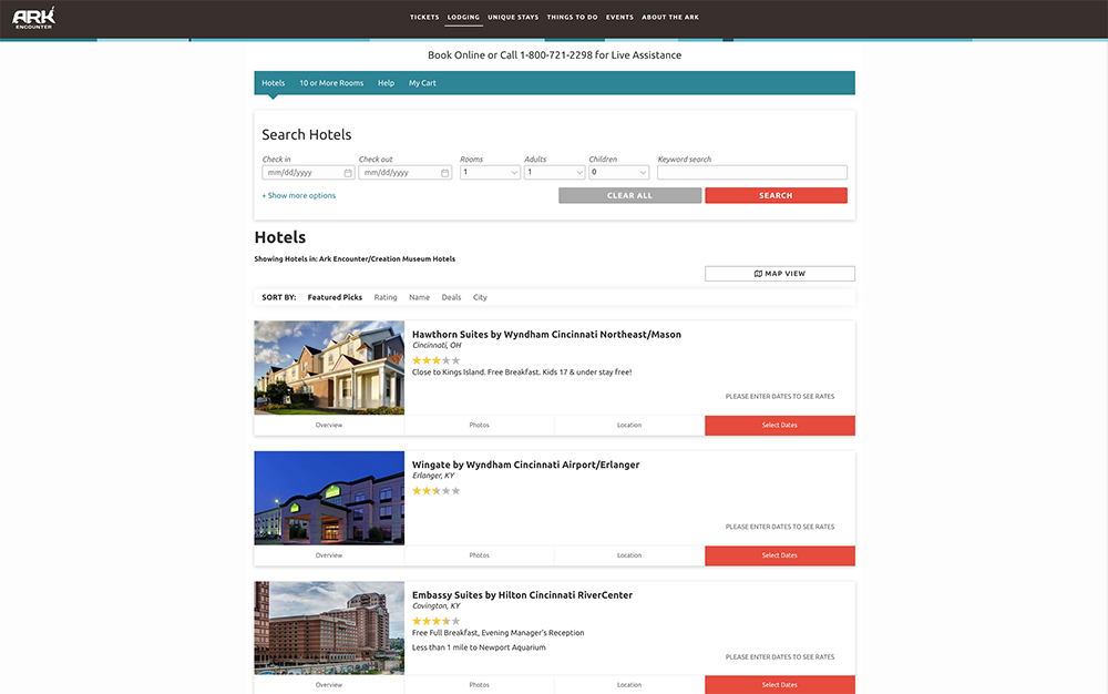 Ark Encounter Hotel Booking Page